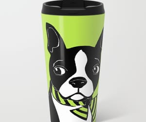 boston terrier, green, and travel mug image