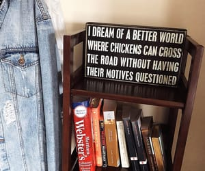 books, bookshelf, and jean jacket image