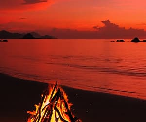 beach, drinks, and fire image