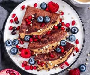 berries, breakfast, and chocolate image