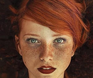 freckles, eyes, and hair image