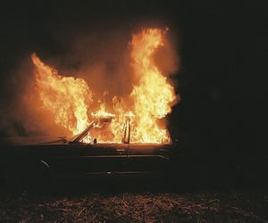 fire, car, and burn image