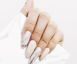 nails, white, and nude nails image