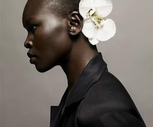 black, flowers, and alek wek image