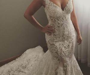 wedding dress, lace wedding dress, and bridal dress image