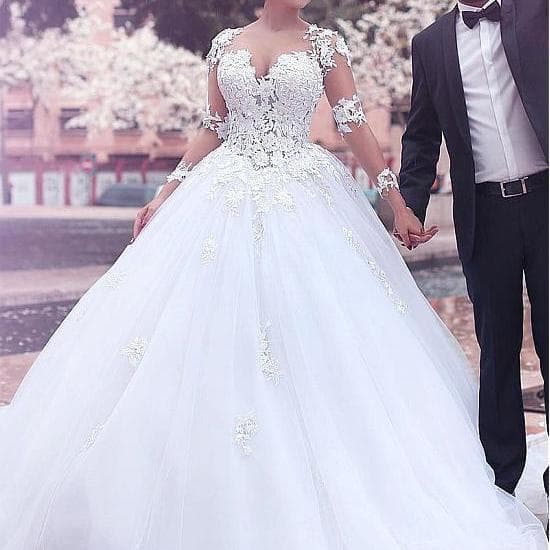 wedding dress, bridal gown, and bridal dress image