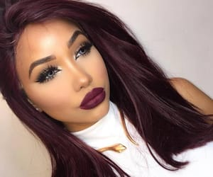 beauty, burgundy lips, and makeup image