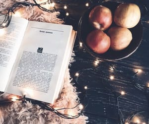 book, apple, and light image