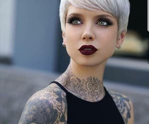 tattoo, gray hair, and pixie image