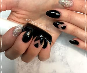 black, nails, and glitter image