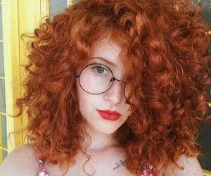 curly hair, ginger, and glasses image