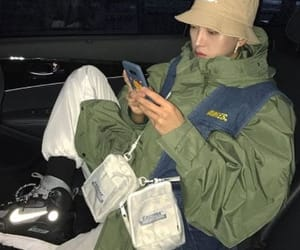 clothes, eastpak, and bucket hat image