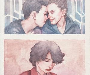 couple, watercolor, and stranger things image