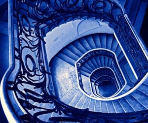 blue, spiral, and staircase image