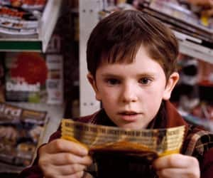 golden ticket, chocolate, and boy image