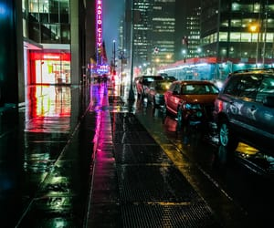 cars, city lights, and cityscape image