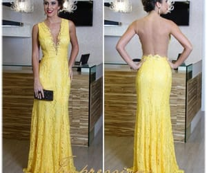lace, prom dress, and yellow image