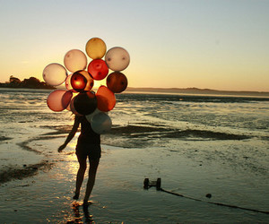 girl, balloons, and beach image
