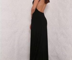 backless dress, prom dress, and black dress image