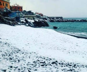 beach, italy, and snow image