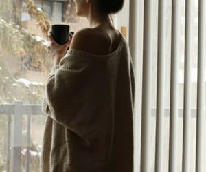 girl, coffee, and sweater image