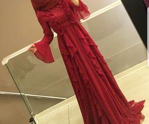 dress, hijab, and long dress image