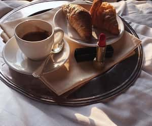 coffee, croissant, and lipstick image