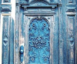 door, blue, and travel image
