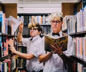 books, vine, and boy image