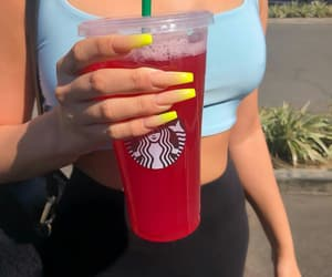starbucks, nails, and drink image