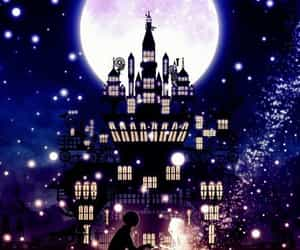 anime girl, moon, and castle image