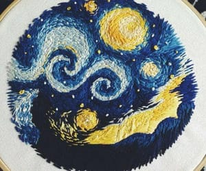 blue, embroidery, and van gogh image