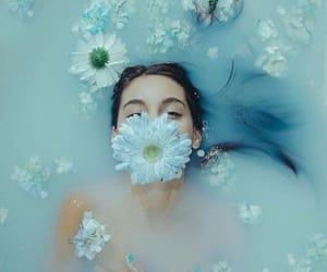 flowers, blue, and water image