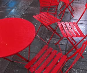 cafe, chairs, and red image