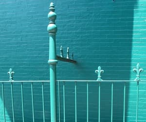 blue, railing, and teal image