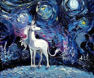 unicorn, art, and van gogh image