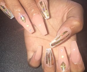 acrylics, glitter, and gold image
