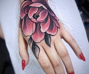 flowers, tattoo, and hand image