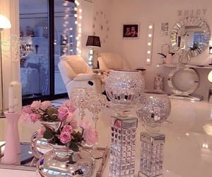beautiful, living room, and silver image