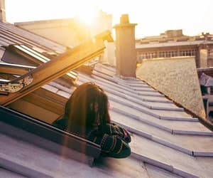girl, roof, and view image