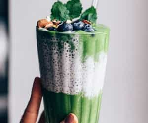 blueberries, cream, and drink image