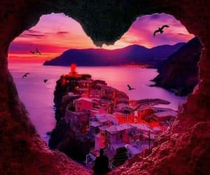 heart, nature, and sunset image