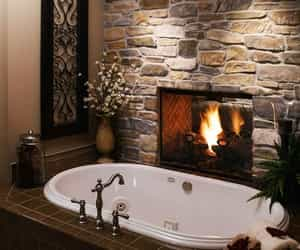 bathroom, fireplace, and home image