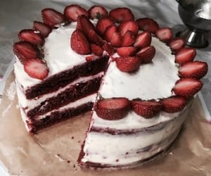 cake, strawberries, and food image