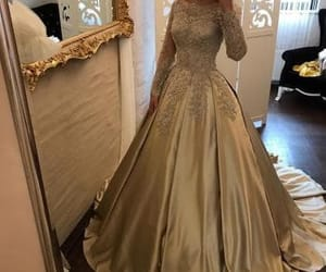ball gown, gold, and prom dress image