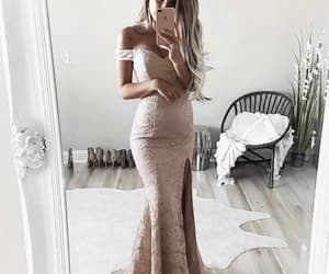evening dress, off the shoulder dress, and prom dress image