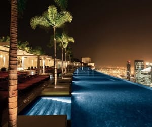 luxury, pool, and night image