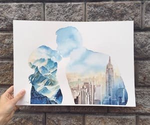 art, city, and couple image