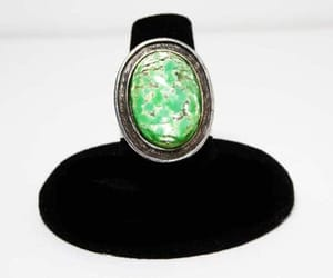 costume jewelry, silver tone, and art glass ring image