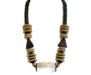 etsy, shell necklace, and wood bead necklace image